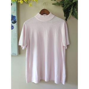 Susan Graver Soft Pale Pink Short Sleeve Sweater